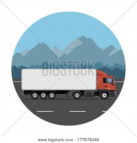 Semi trailer truck on the mountain road. Vector illustration. Flat design without gradients.