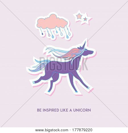 Hand-drawn elements unicorn, cloud and stars for patches, stickers, design cards and leaflets. Cartoon elements characters.
