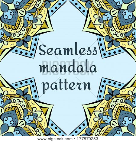 seamless pattern on a blue background, beautiful unusual flowers , mandala, vector illustration.Vintage cards with floral mandala pattern and ornaments.