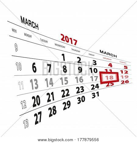 18 March Highlighted On Calendar 2017. Week Starts From Monday.