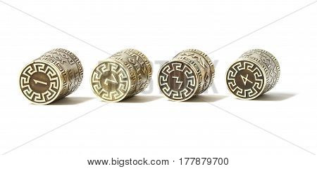 Collection set ot four decorative thimbles with etching with Greek aphorisms.