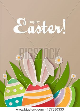 Happy Easter greeting card. A realistic vector image that simulates paper.