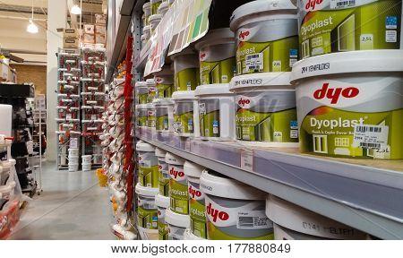 Eskisehir Turkey - March 12 2017: Plastic interior wall paints on a shelf at Banio Construction Market
