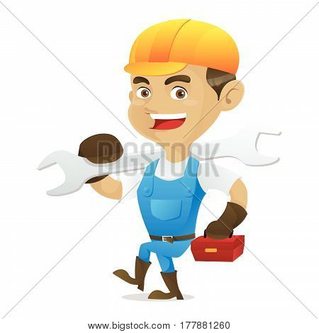 Handyman Carrying Wrench And Toolbox