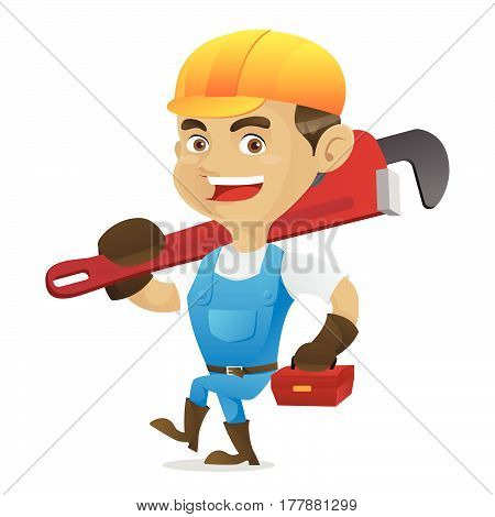 Handyman Carrying Adjustable Wrench And Toolbox