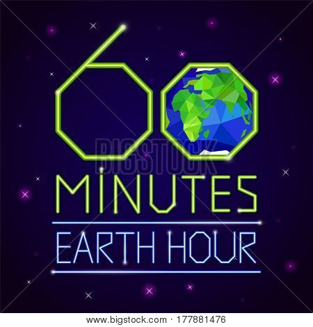 Earth hour banner or poster triangle style. Event with Earth, space, stars and text on dark blue background
