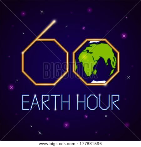 Earth hour banner or poster neon style. Event with Earth, space, stars and text on dark blue background