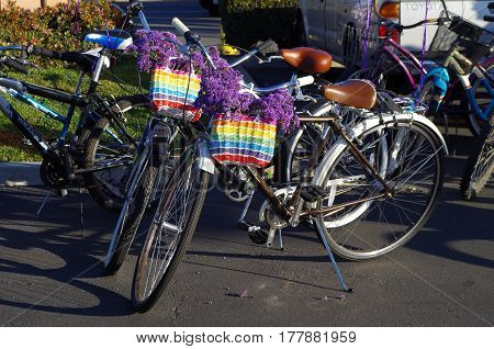 Rainbow Bicycle Gearing Up for the Gay Pride Parade in Little Saigon