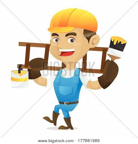 Handyman Holding Paint Brush And Carrying Ladder