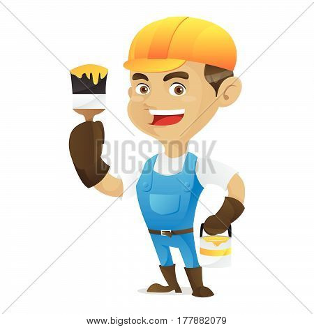 Handyman Holding Paint Brush