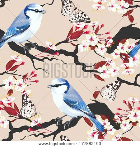 Bird on blooming cherry branch vector seamless background