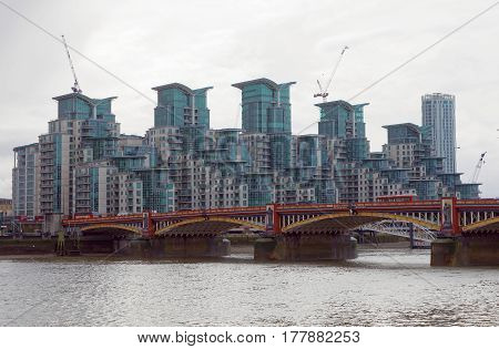 LONDON GREAT BRITAIN - FEB 27 2017: Exterior of a modern buildings and a bridge. February 27 2017 in London Great Britain