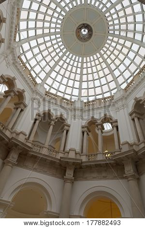 LONDON GREAT BRITAIN - FEB 27 2017: Interior of the ceiling of the museum Tate Britain. February 27 2017 in London Great Britain