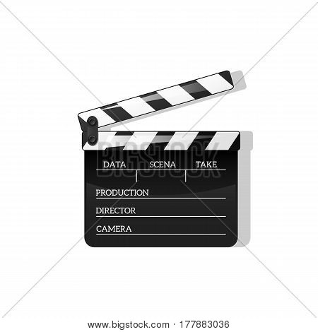 Black clap open black object element for movie making vector iilyustratsiya Flat in style. Symbol Icon on films for your projects.