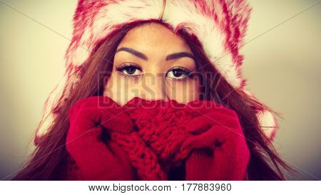 Mulatto Woman Wearing Warm Winter Clothing, Closeup