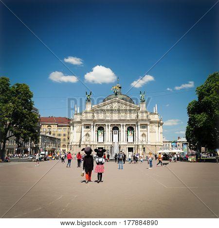 Lviv, Ukraine - June 8, 2016: Lviv Opera House street scene
