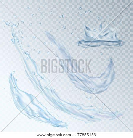 Water design element drops splash wave vector illustration