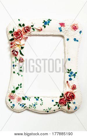 vintage alabaster frame isolated on white background