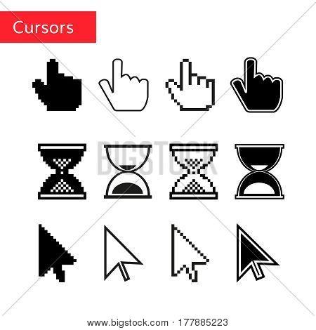 Mouse cursors set. Pixel cursors. Arrow , finger and magnifier cursors.
