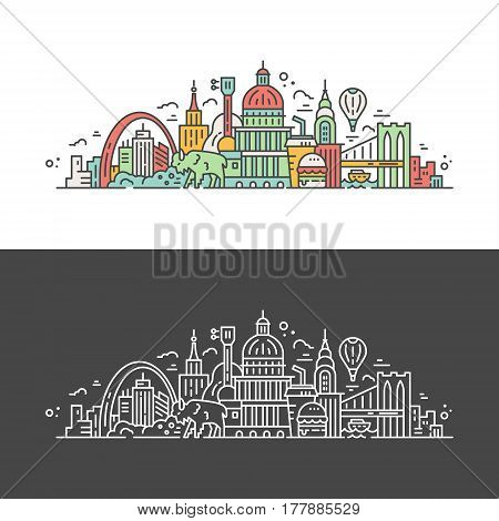 USA travel cincept - line style illustration with all main tourist attractions and symbols of the United States