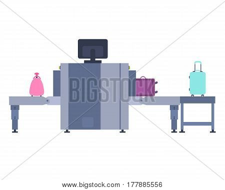 Introscope for baggage screening. Scanner of a suitcase at the airport. Vector illustration