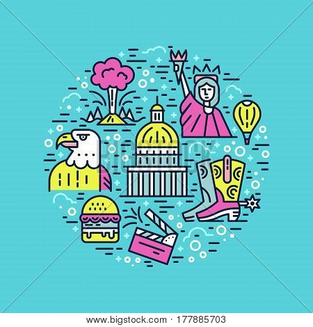 Travel to United States vector illustration in line style