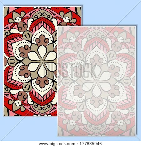 Vintage leaflets with mandala pattern on a pale blue background. Rectangular postcards with an unusual oriental pattern. A place for your advertising. Vector illustration.