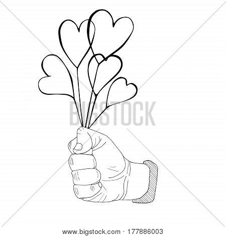 Clinched first with hearts bouquet hand drawn sketched illustration. Doodle Flourish graphic. Design Isolated on white.