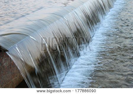 Cascading artificial waterfall composition of urban fountain