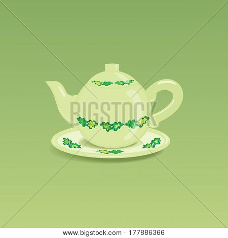 Ceramic teapot icon. Porcelain teakettle with saucer isolated. Freehand drawn cartoon style. Teatime accessories concept. Tableware for tea drinks with clover leaves ornament. Vector illustration