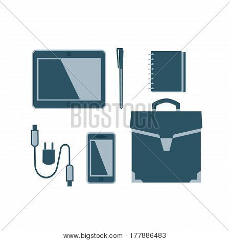 Business meeting accessories icons set. Flat style. Briefcase, notebook, pen. Leather travel bag sign. USB cable, tablet, mobile phone. Vector symbol of computor or smartphone charging peripherals
