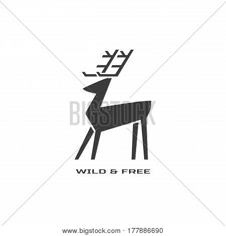 Animal based logo. Wild deer sign. Hand drawn design for nature park emblem. Horned reindeer black white symbol. Decorative monochrome vector illustration of elk. Wildlife advertisement banner element