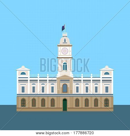 The historic building of Australia the vector image in a flat minimalist style