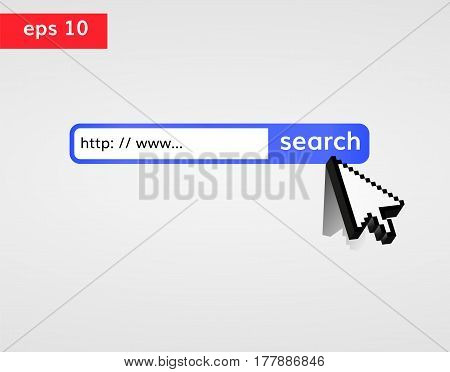 Search in web vector illustration. Search bar with www and search button. 3d pixel  cursor press search button. Web searching concept.