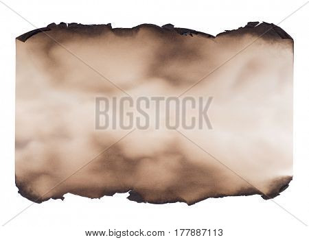 Piece of burned paper isolated on white background