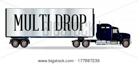 The front end of a large lorry over a white background with Multi Drop inscription