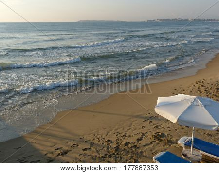 A deserted beach in the early morning Black Sea, Sunny Beach, Bulgaria