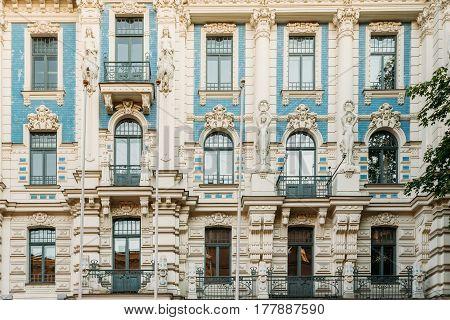 Riga, Latvia. Facade Of Old Art Nouveau Building Designed by Mikhail Eisenstein on Strelnieku Street