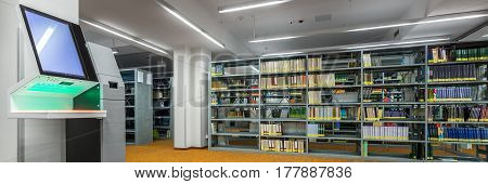 Library Interior With Modern Technology