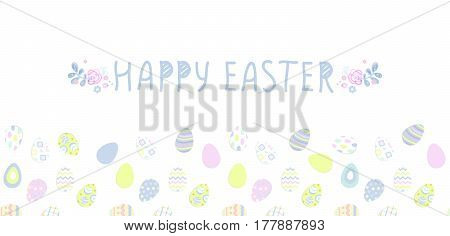 Seamless pattern with easter eggs, Vector illustration.