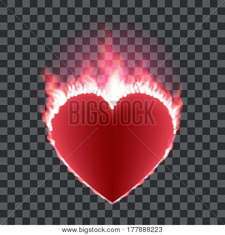 Burning red heart isolated on transparent background. Heart shape surrounded with transparent fire and red glow. Vector illustration for logos, cards, print products or other design.