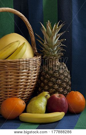 basket full fruit still-life symbol of abundance and prosperity