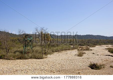 kalesar national park india with dry river bed and watctower under a clear blue sky
