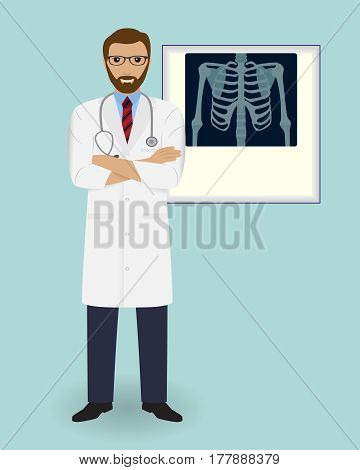 Doctor on a x-ray radiogram background. Medical employee. Hospital staff concept. Vector illustration.