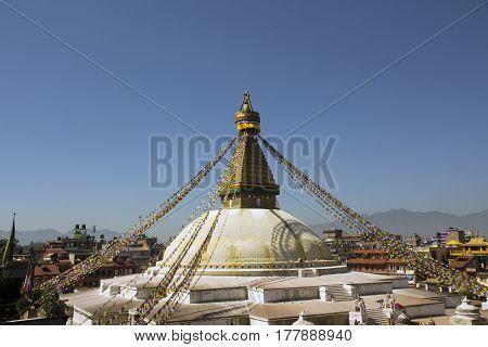 Buddhist religious temple in Kathmandu, of Nepal