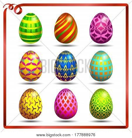 Multi colored easter eggs on a white background with a red ribbon