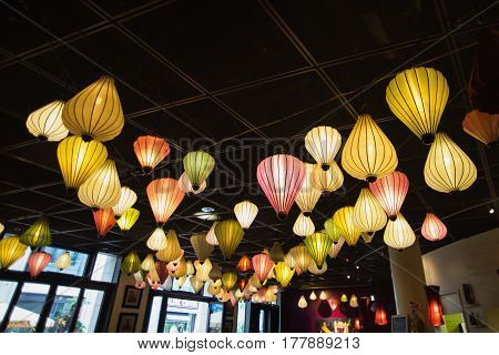 Chinese colored lanterns. Sources of light. Soft tube light with lanterns