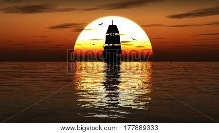 Beautifull ancient sailing ship at sunset. 3d illustration