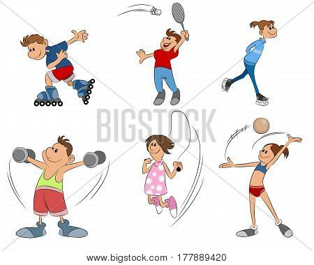 vector illustration of six kids practice sport