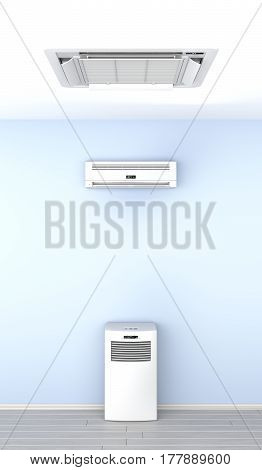 Different types of air conditioners in the room, 3D illustration